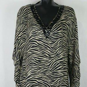 Michael Kors Sz M Silk Zebra Tunic Blouse